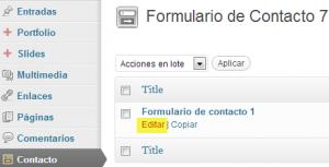 editar formulario en wordpess
