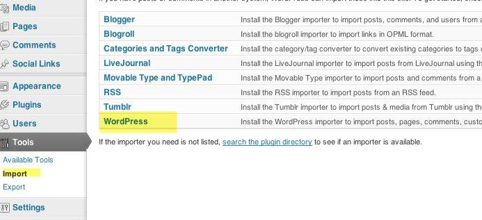 importar en wordpress