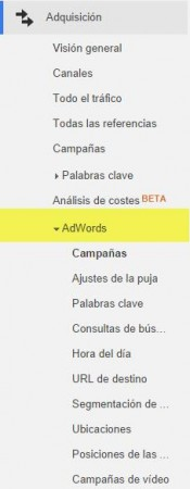 seccion adwords en analytics