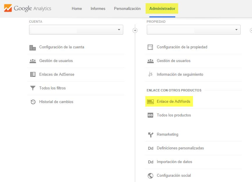 enalce adwords en analytics