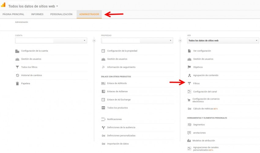 Cómo crear filtro spam en google analytics