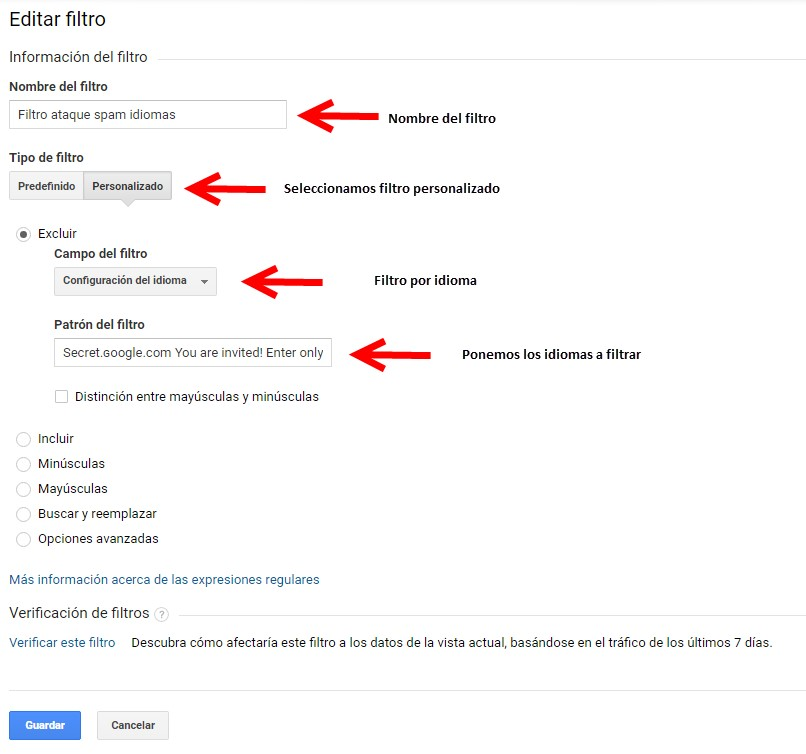 Filtro de spam idiomas google analytics