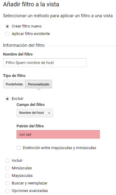 Filtro spam nombre de host