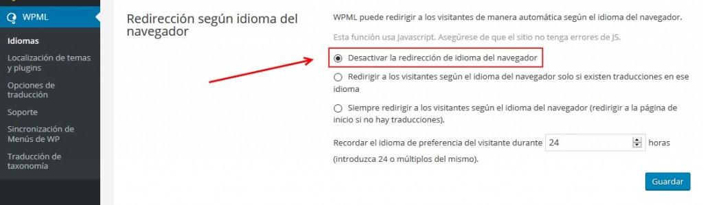 WMPL redireccion idioma de navegador