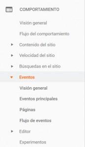 Sección Eventos Google Analytics