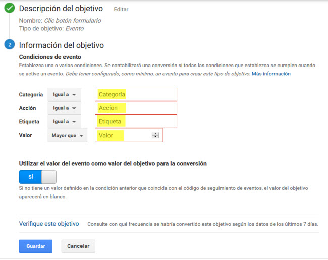 Objetivo Evento Google Analytics Paso 2