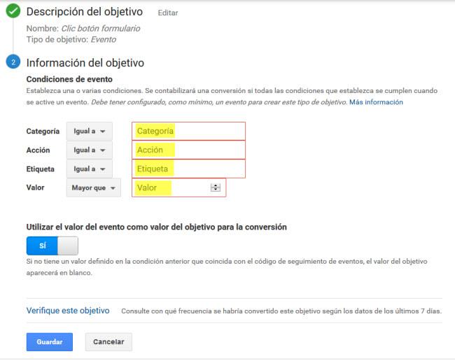 Objetivo Evento Google Analytics Paso 2